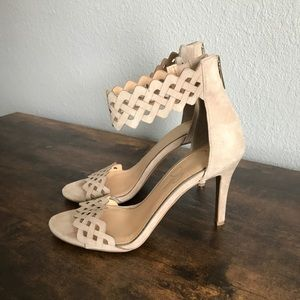 Jessica Simpson Nude Suede Zig Zag Cut Out Heels
